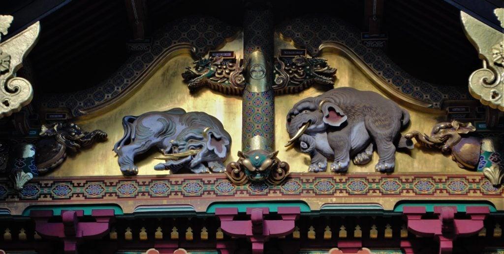 Toshogu carved elephants on storehouse