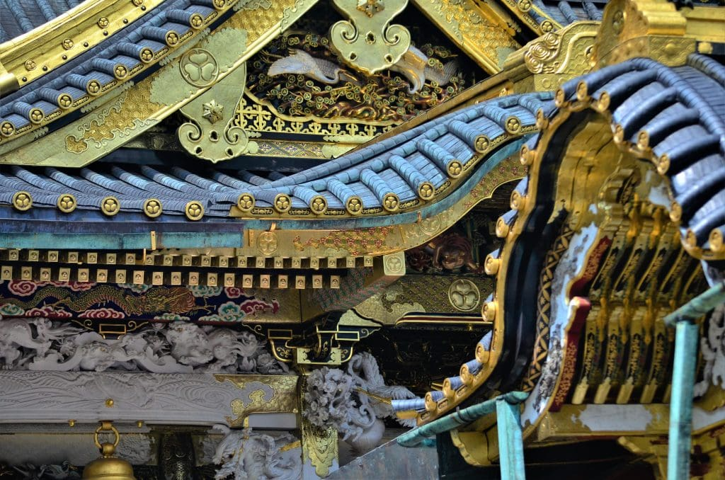 Toshogu Karamon Gate and Main Hall roof details