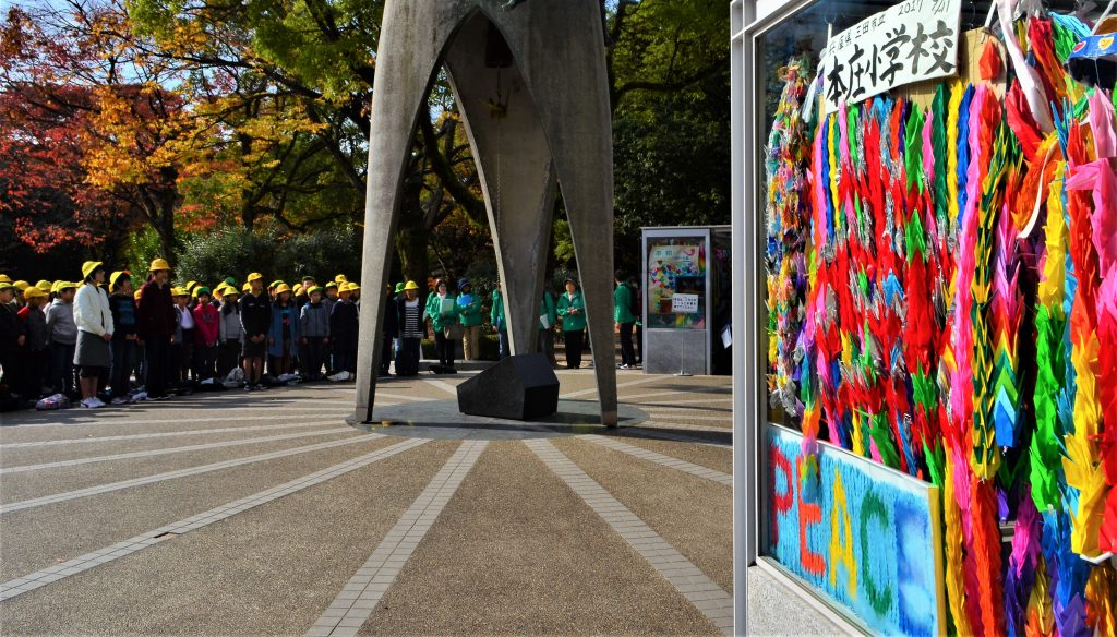 students at the Children's Peace Memorial in Hiroshima