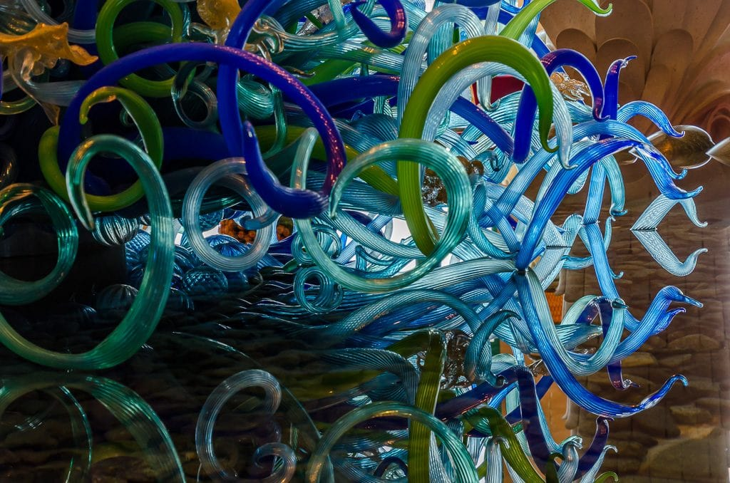 Chihuly sculpture refection at the Atlantis, The Palm