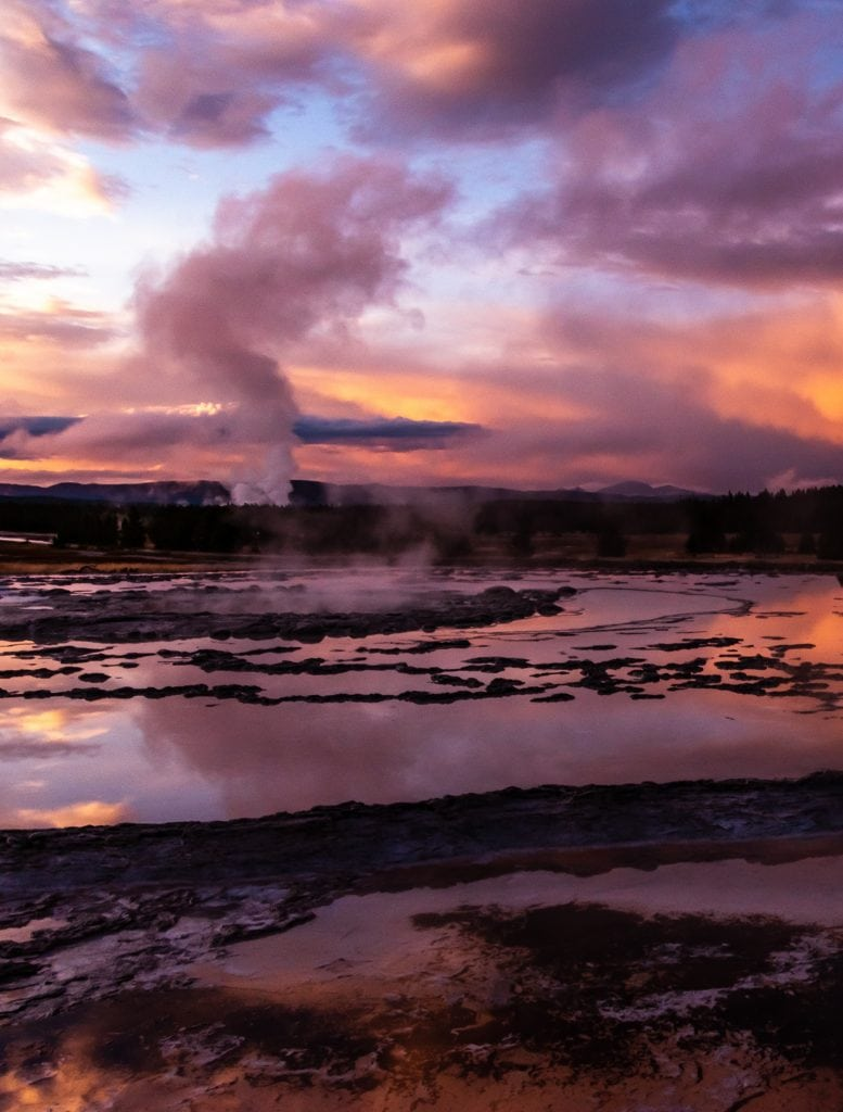 Sunset over the Great Fountain Geyser