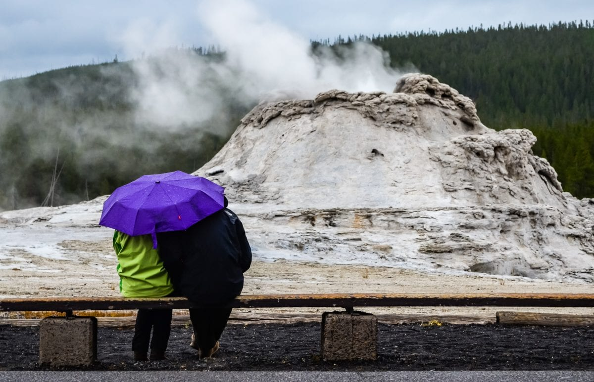 At Castle Geyser in Yellowstone