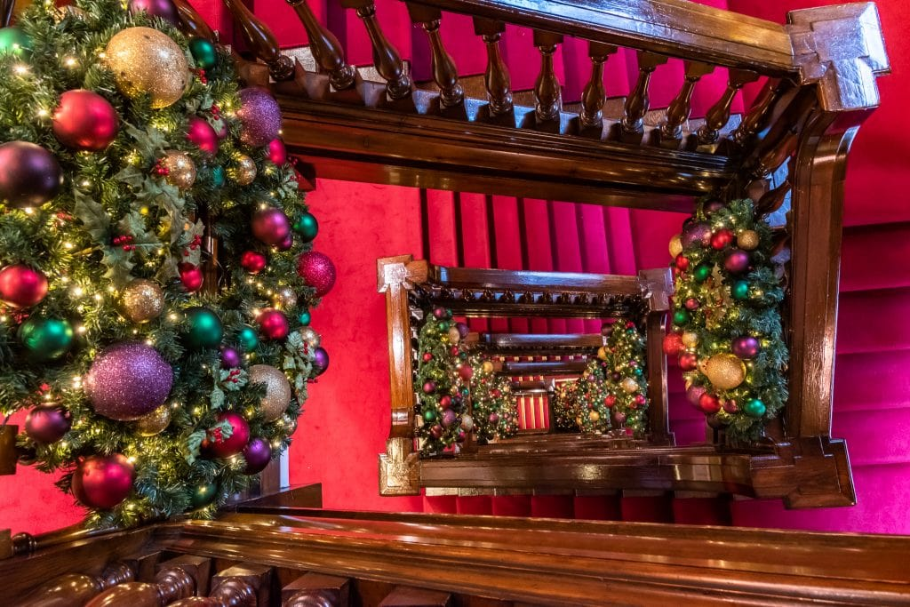 The decorated stairway at Fortnum and Mason
