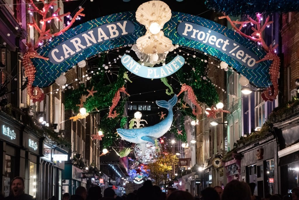The creative display over Carnaby Street