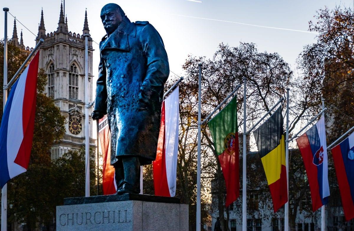 Winston Churchill statue in Parliament Square Garden