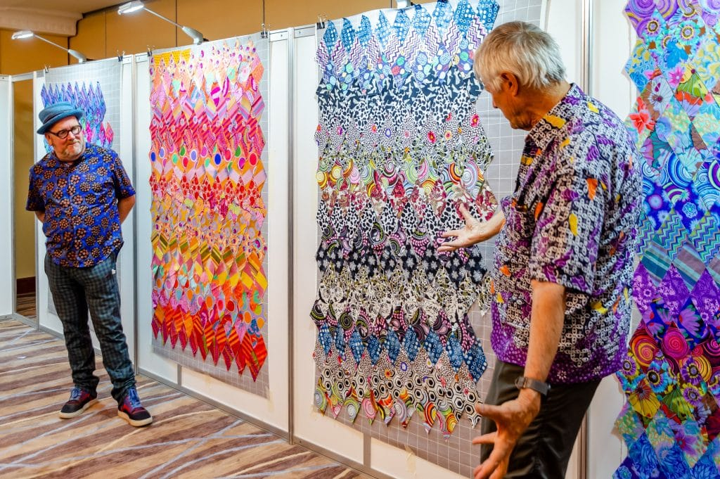 Final class review of quilts with Kaffe Fasset