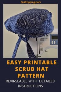 A reversible scrub hat pattern with easy to follow detailed instructions and a printable pattern