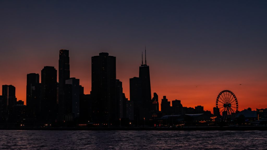 The Chicago skyline at dusk
