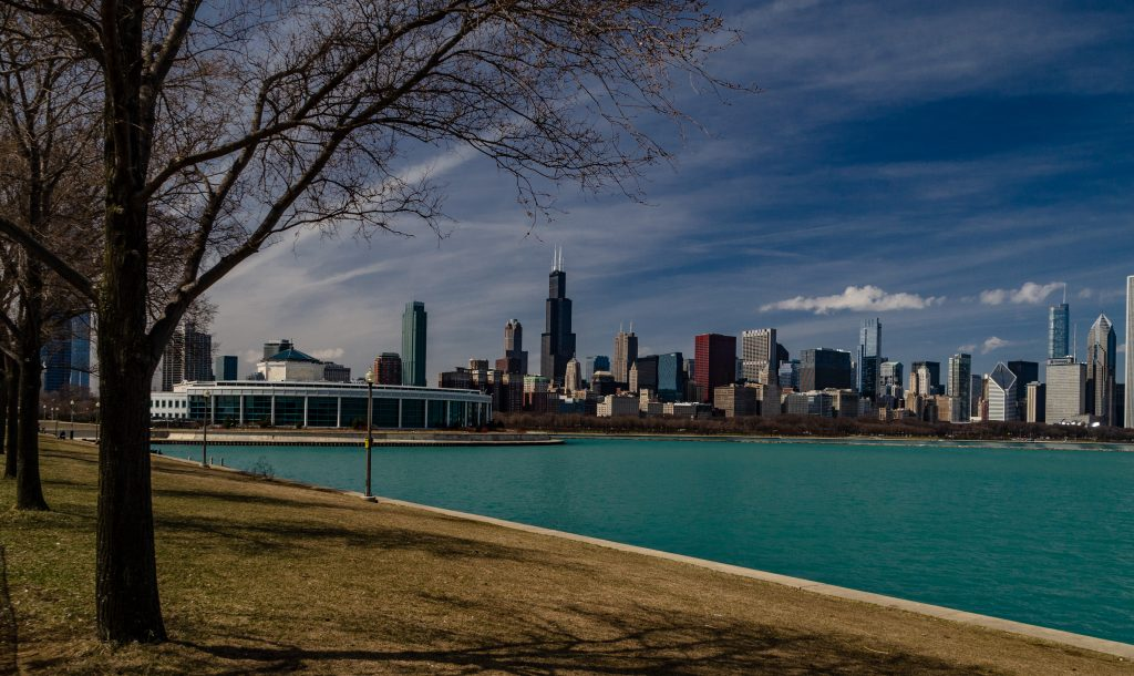 View of Chicago skyline from the Museum Campus