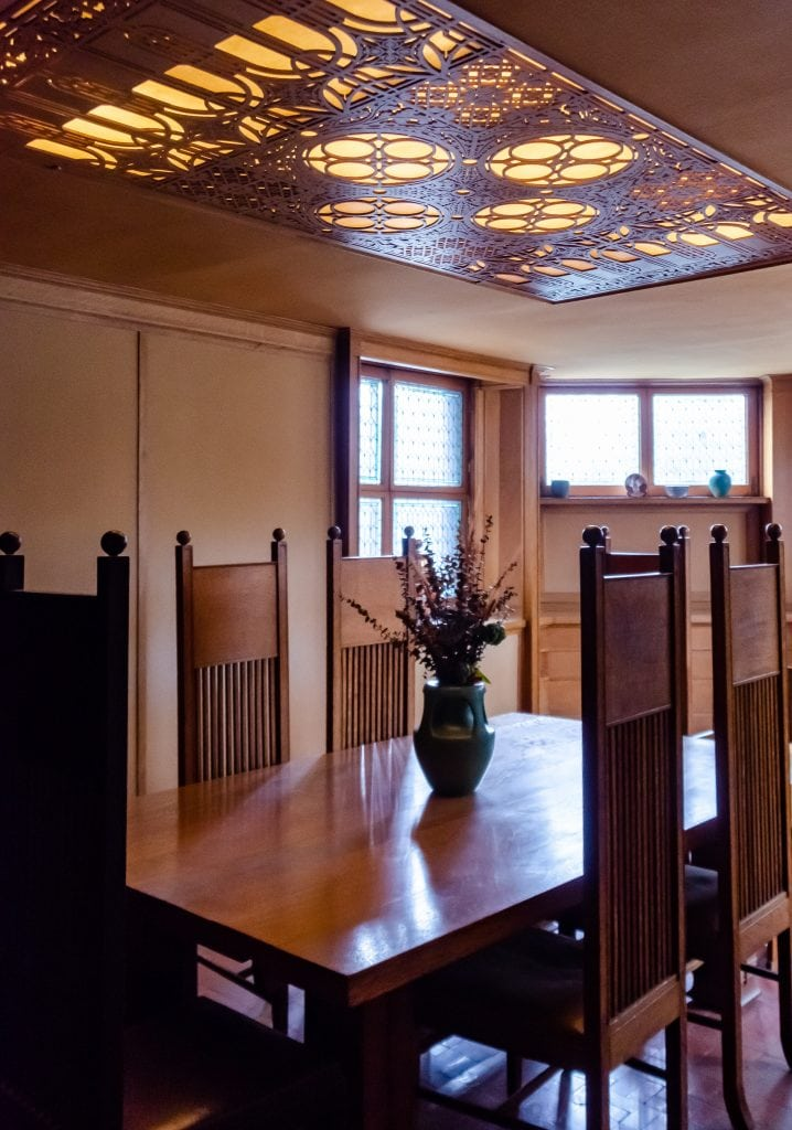 The dining room in the Frank Lloyd Wright house