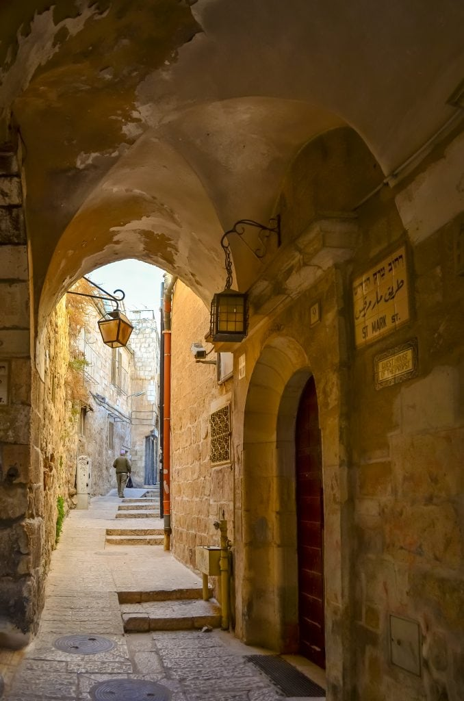 One of the many narrow streets in the Jewish quarter