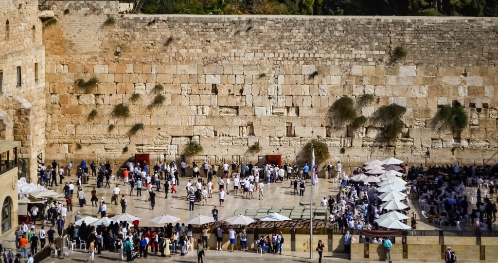 Looking out over the men's and women's sides of the Western Wall
