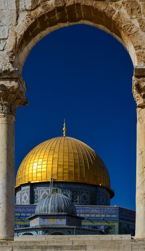Our first glimpse of the Dome of the Rock