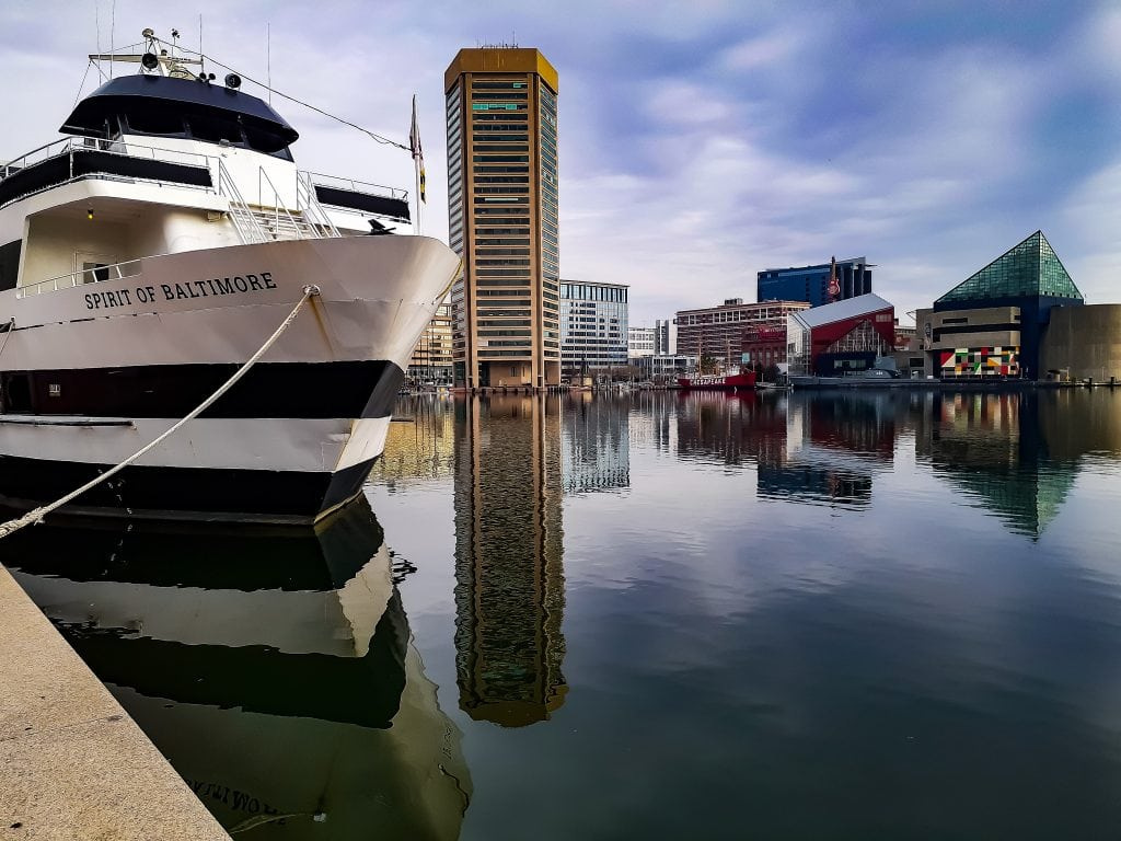 A calm early morning on Baltimore's Inner Harbor