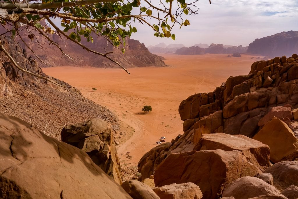View across the Wadi Rum desert from Lawrence's Spring