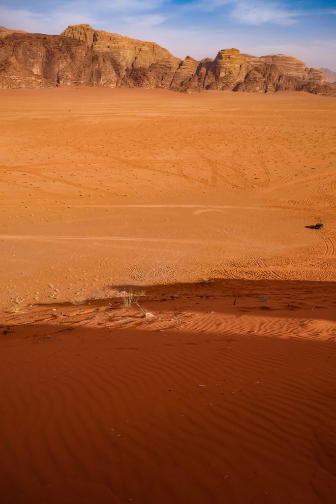 Looking out across the desert of Wadi Rum