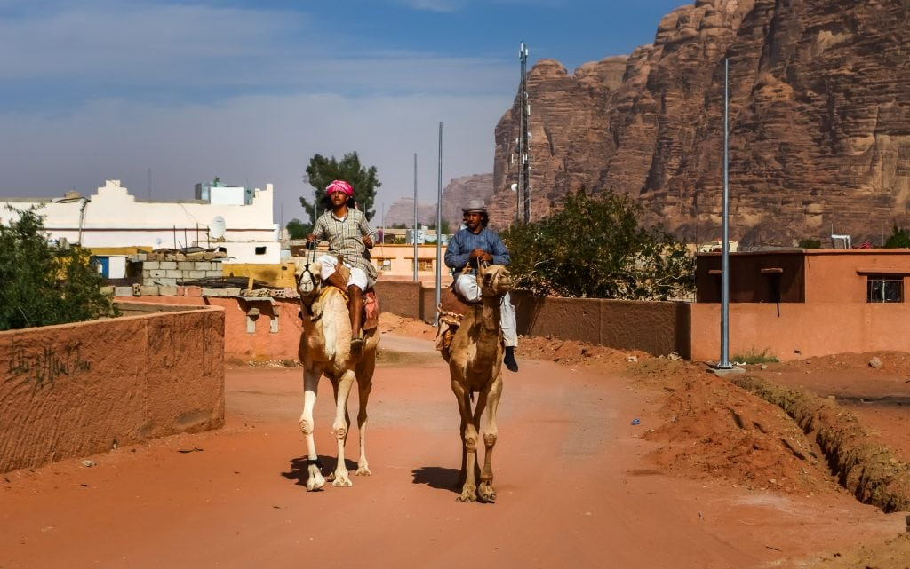 Our guides are bringing our camels for our camel ride in the desert