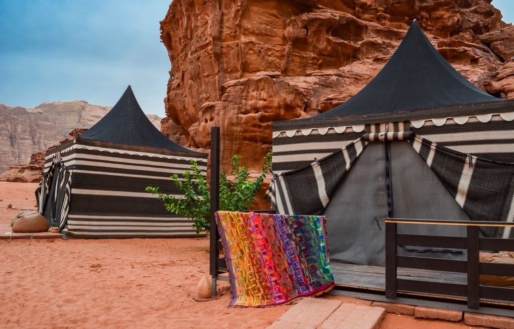 Photographing my quilt at our luxury tent in Wadi Rum