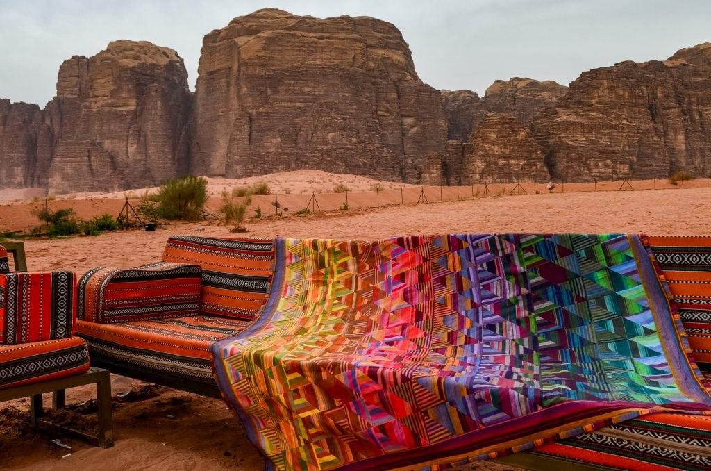 """My """"Bedouin Desert Blanket"""" quilt photographed in Wadi Rum, Jordan"""
