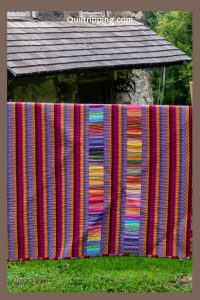 The back of my Bedouin Desert blanket quilt using leftover Kaffe Fasset fabrics