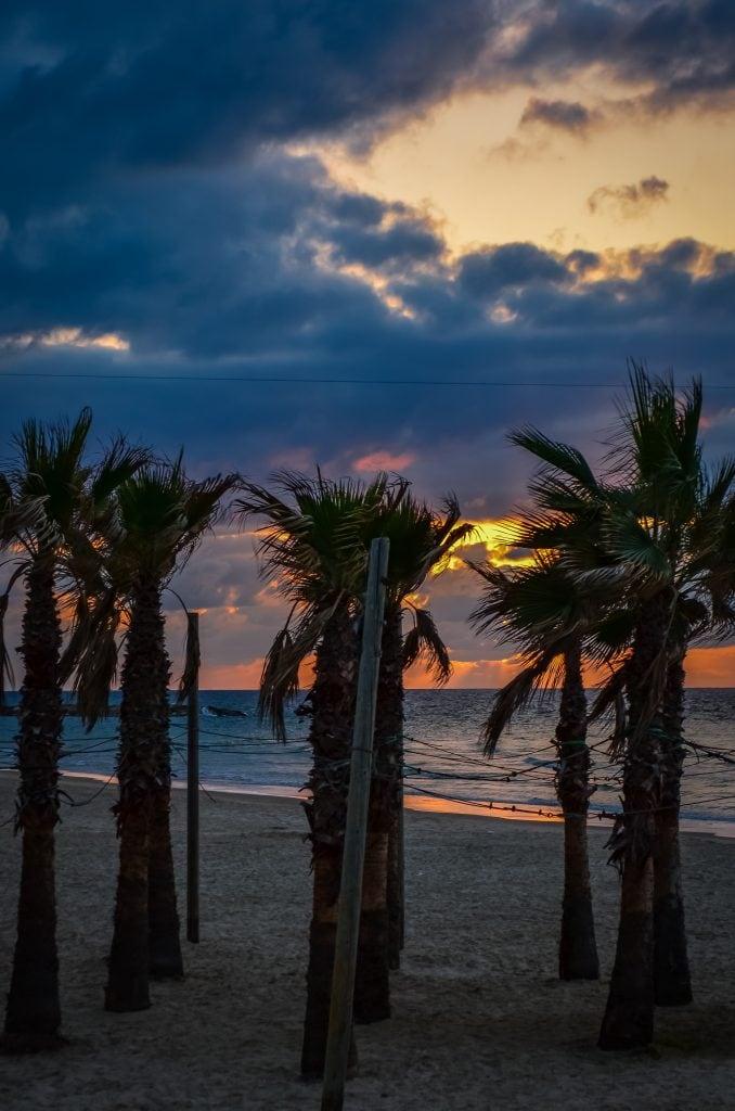 sunset on the beach in Tel Aviv